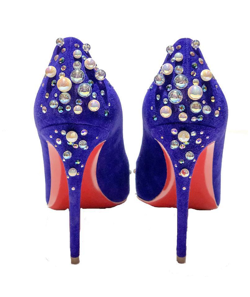 c04073a33d6 Christian Louboutin Blue Candidate Purple Pop Pearl Crystal Embellished  Suede Red Sole Pumps Size EU 39 (Approx. US 9) Regular (M, B) 36% off retail