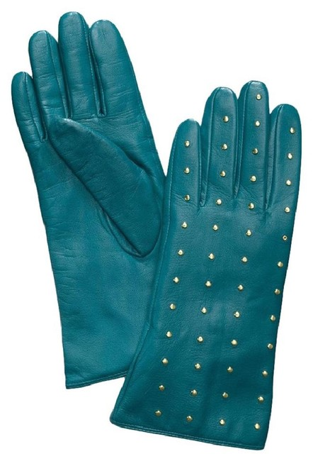 Item - Electric Eel Teal New Tags Embellished Gold Studded Leather Gloves