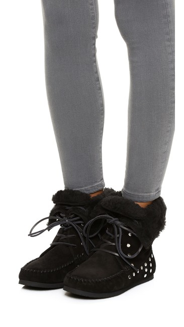 Item - Black New Moccasin Faux Shearling Lined Lace Up Nifty Suede Boots/Booties Size EU 41 (Approx. US 11) Regular (M, B)