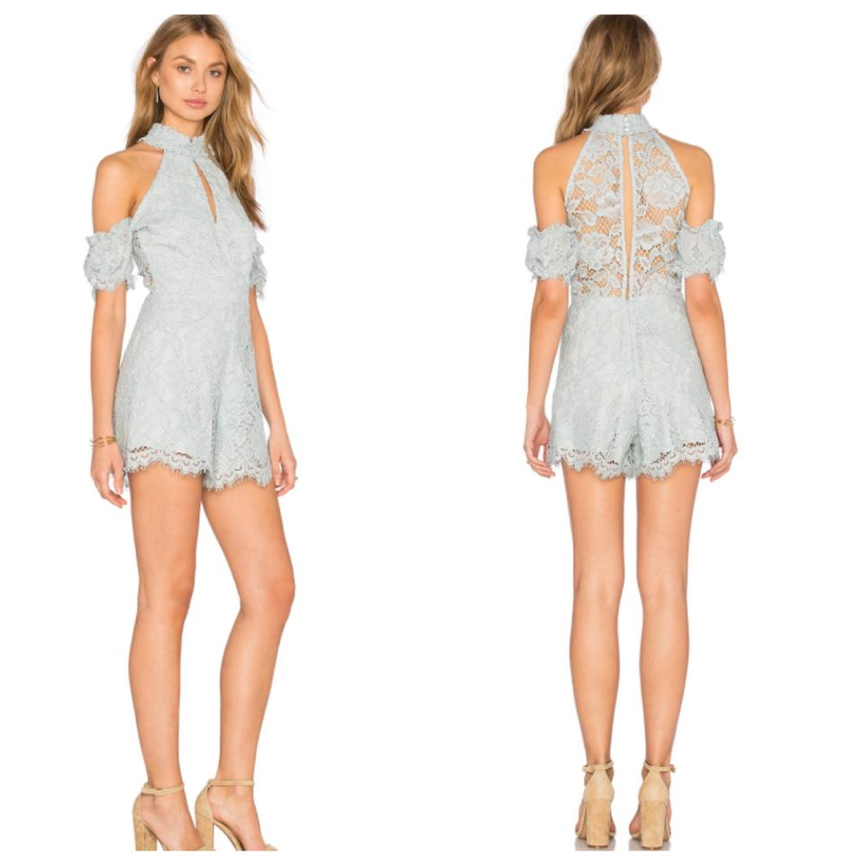 3e68af60d36 Alexis Blue Baby Adele Off Shoulder Halter Lace Cold Shoulder Romper ...