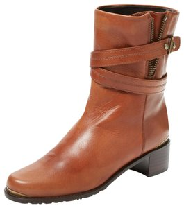 Stuart Weitzman Leather Strap Saddle Brown Boots
