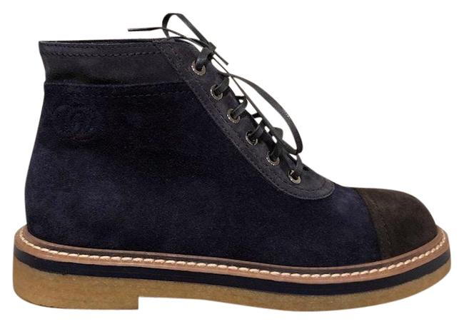 Chanel Blue 17k Navy Brown Suede Cc Lace Up Combat Short Ankle Boots/Booties Size EU 35.5 (Approx. US 5.5) Regular (M, B) Chanel Blue 17k Navy Brown Suede Cc Lace Up Combat Short Ankle Boots/Booties Size EU 35.5 (Approx. US 5.5) Regular (M, B) Image 1