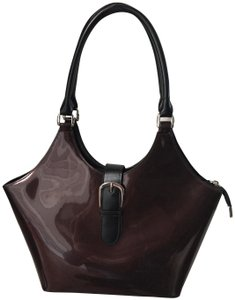 Beijo Patent Leather Handbags Satchel in Brown and Black