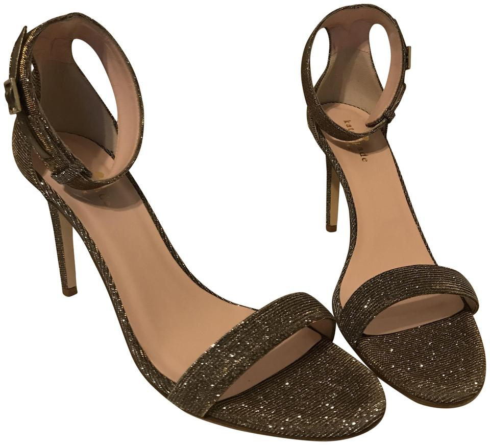 e12a2208a77 Kate Spade Bronze Isa Leather Ankle Strap Heels Dress Sandals Size ...