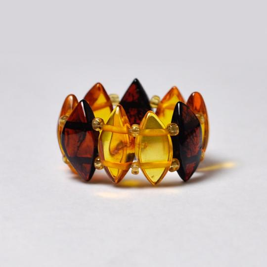 NY Collection Natural Multicolor Marquise Amber Gemstone Adjustable Womens Band Ring Image 2