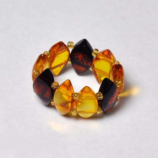 NY Collection Natural Multicolor Marquise Amber Gemstone Adjustable Womens Band Ring Image 3