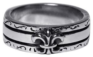 NY Collection Vintage Fleur de Lis Lily French Band Womens Oxidized 925 Sterling