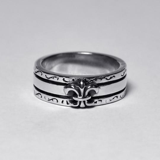 NY Collection Vintage Fleur de Lis Lily French Band Womens Oxidized 925 Sterling Image 2