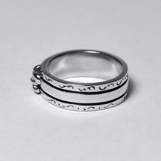 NY Collection Vintage Fleur de Lis Lily French Band Womens Oxidized 925 Sterling Image 3