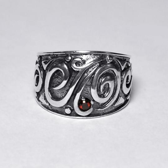 NY Collection Vintage Ornate Pattern Wide Band Womens Oxidized 925 Sterling Image 2