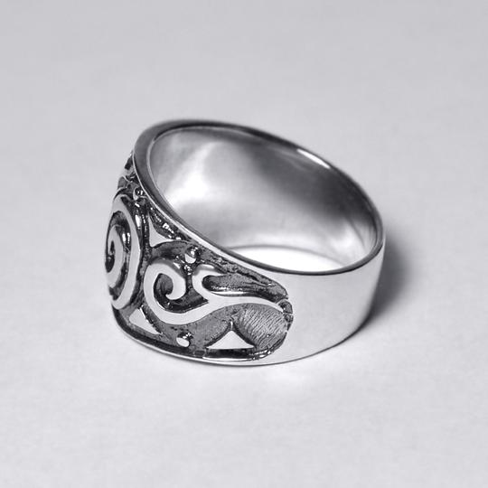 NY Collection Vintage Ornate Pattern Wide Band Womens Oxidized 925 Sterling Image 3
