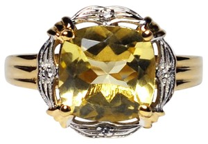 NY Collection Real Citrine Quartz Topaz Solitaire Womens Gold Plated Sterling Silver