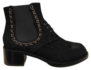 Chanel Tweed Chain Combat Ankle black Boots