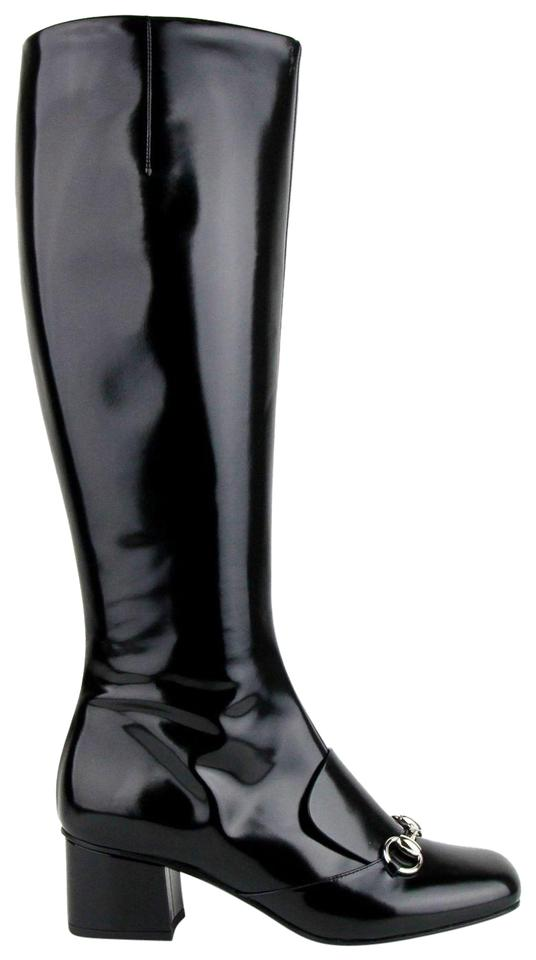 9f6247d04 Gucci Black Horsebit 362949 Patent Leather Knee High Silver Boots ...
