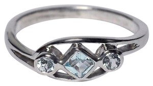 NY Collection Real Bezel Set Blue Topaz Three Stone Band Womens 925 Sterling