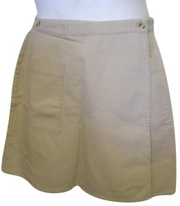 Eddie Bauer Biege Twill Wrap Xl 14 Career Casual Mini Skirt Beige