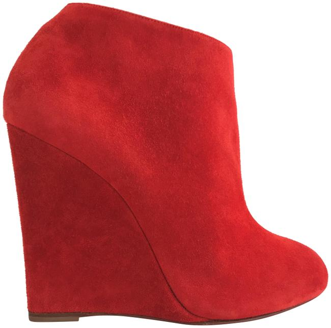 Item - Red Wedge High Heel Lady Fashion Sole Zip Toe Ankle Suede Italy Boots/Booties Size EU 37.5 (Approx. US 7.5) Regular (M, B)