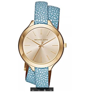 Michael Kors Michael Kors Women's Slim Runway DoubleStrap Blue Leather Watch MK2478