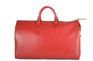 Louis Vuitton Epi Speedy Leather Tote in red