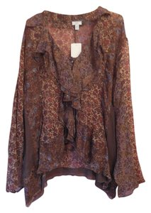 J. Jill Silk Plus-size New With Tags Top Dark Olive Floral