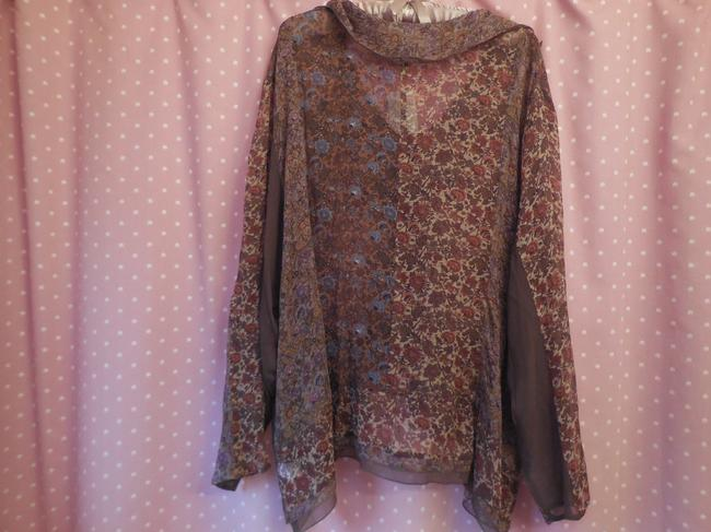 J. Jill Silk Plus-size New With Tags Comfortable Top Dark Olive Floral