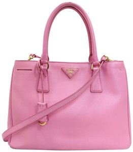 Prada Medium Saffiano Lux Double Zip Satchel in HotPink