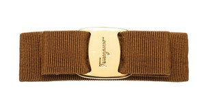 Salvatore Ferragamo Salvatore Ferragamo Brown Grosgrain Embellished Bow Barrette 473439