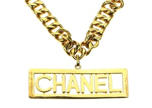 Chanel Chanel Vintage Iconic Late 1980's Cuban Chain Logo Necklace
