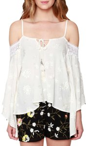 Anthropologie Peplum Willow & Clay Pale Yellow Embellished Top Natural