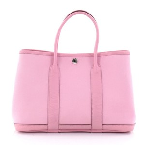 Hermès Leather Toile Tote in pink