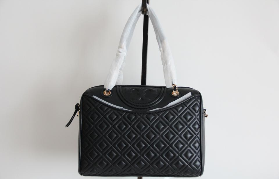 Fleming Quilted Duffle Leather Black Tote Burch Tory 8ORwq50wx