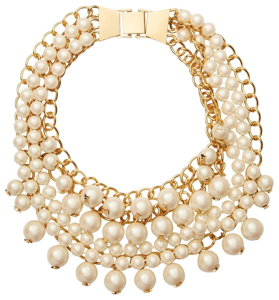 Kate Spade Pearl Bow Necklace: Kate Spade Pearl Gold New 12k Statement Tags Necklace