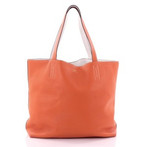 Hermès Tea Length Leather Tote in orange and white