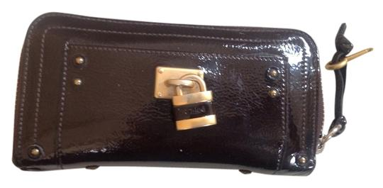 Chloé Chloe padlock wallet in brown patent leather