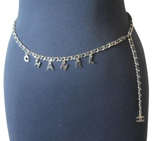 Chanel Vintage Chanel Gold Tone Chain Black Leather Belt CHANEL Charms