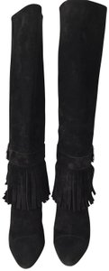 Louis Vuitton Fringe Suede Pull On Black Boots