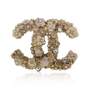 Chanel Chanel Floral Crystal and Enamel Pin