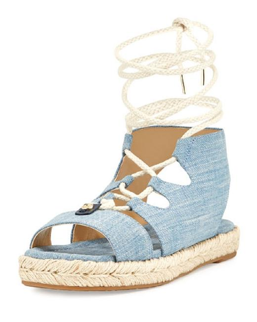 Michael Kors Denim Mckenna Flatform Espadrille Wedges Sandals Size US 9 Regular (M, B) Michael Kors Denim Mckenna Flatform Espadrille Wedges Sandals Size US 9 Regular (M, B) Image 1