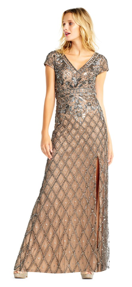 7ca6f4dafdc97 Adrianna Papell Lead Nude Diamond Beaded Gown Formal Dress. Size: 8 (M)  Length: Long ...