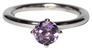 NY Collection Real Round Purple Amethyst 4 Prong Solitaire Womens 925 Sterling