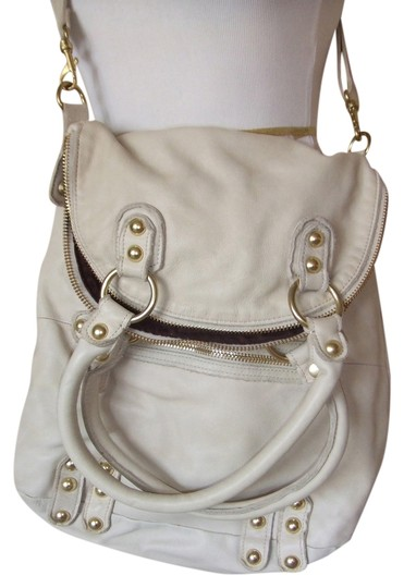 Linea Pelle Soft Leather Studded Tote in Coconut, Cream, Beige