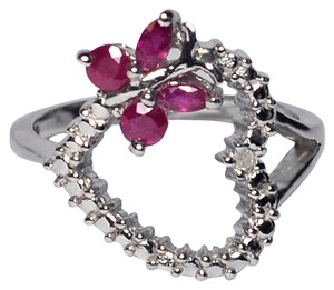 NY Collection Natural Ruby Diamond Open Heart Butterfly Promise Womens 925 Sterling