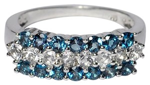 NY Collection Natural Blue White Topaz 3 Rows Band Womens Classic 925 Sterling