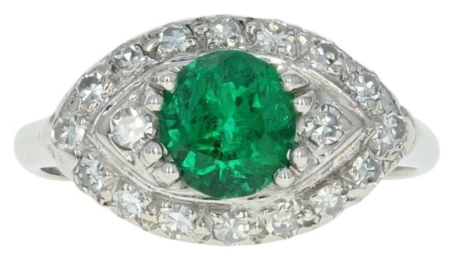 Item - Green New Emerald & Diamond Halo - Platinum Size 7 Women's 1.37ctw Ring