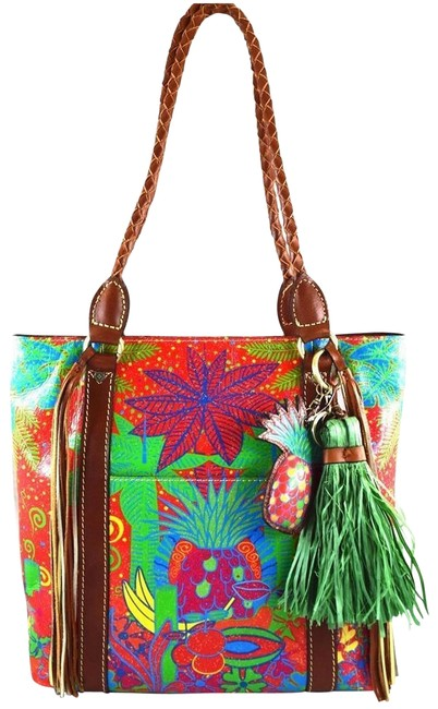 Item - Rena Tropical Summer Festival Poster Brown Multi Leather Tote