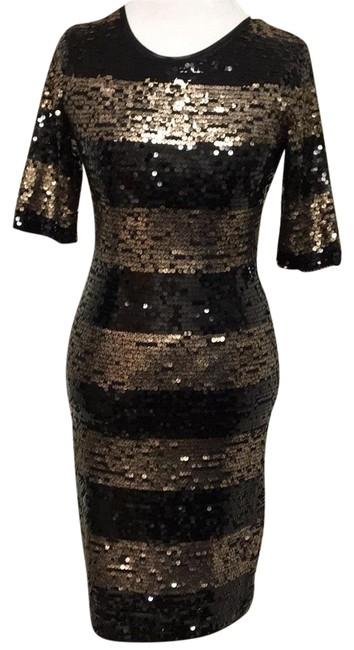 Item - Black and Gold Sequin Part Mid-length Cocktail Dress Size 4 (S)