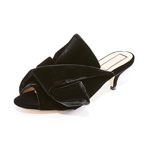 No.21 Velvet Kitten Heel Slides Black Pumps