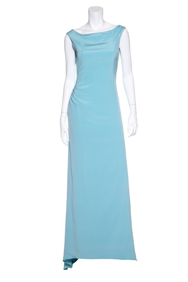 Carolina Herrera Blue Pale Woven Evening Gown Long Formal Dress Size ...