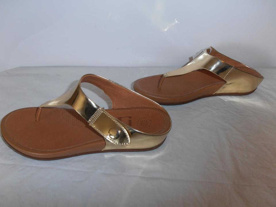 9e7bf08e4 FitFlop Metallic Gold Womens Gladdie Toe-post Leather Us- New Sandals Size  US 7 Regular (M