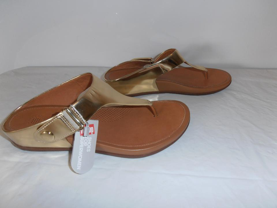9bc85cb9e FitFlop Thick Rubber Bottom New Without Box Flip Flop metallic gold Sandals  Image 5. 123456